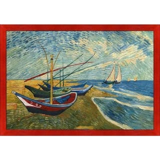 """La Pastiche Fishing Boats on the Beach at Saintes-Maries by Vincent Van Gogh Black, Red Stiletto Framed Art, 27.5"""" x 39.5"""""""