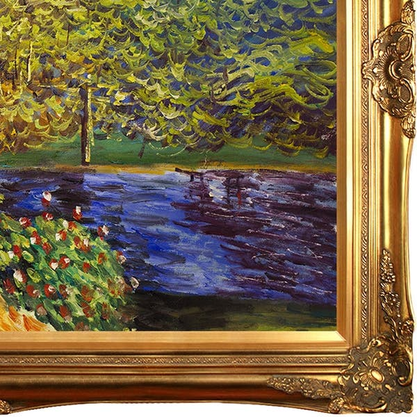 La Pastiche Corner Of The Garden At Montgeron By Claude Monet With Gold Victorian Frame Oil Painting Wall Art 44 X 32 Overstock 28491798
