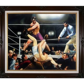 """La Pastiche Dempsey and Firpo by George Wesley Bellows with Cherry and Gold Vintage Cherry Frame Oil Painting, 30"""" x 26"""""""