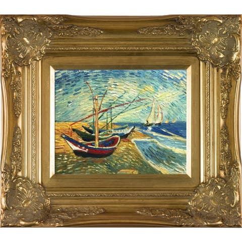 """La Pastiche Fishing Boats on the Beach at Saintes-Maries by Vincent Van Gogh with Gold Victorian Frame Oil Painting, 18"""" x 16"""""""