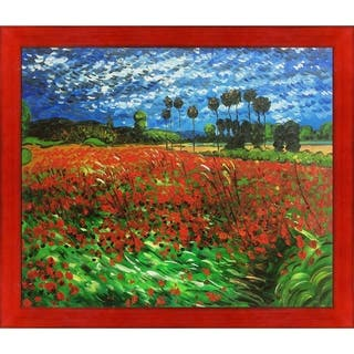 """La Pastiche Field of Poppies by Vincent Van Gogh with Black, Red Stiletto Brushed Frame Oil Painting Wall Art, 27.5"""" x 23.5"""""""