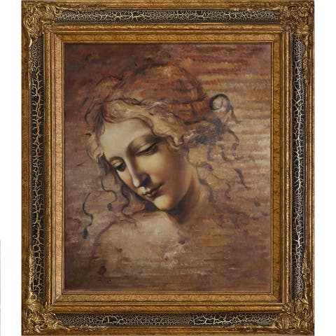 "La Pastiche Female Head (La Scapigliata) by Leonardo Da Vinci with Black Crackle King Frame Oil Painting Wall Art, 32"" x 28"""