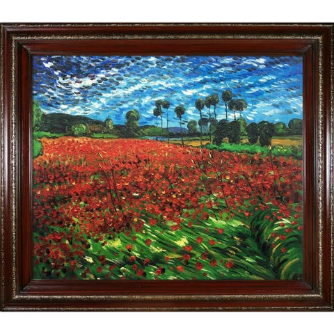 """La Pastiche Field of Poppies by Vincent Van Gogh with Cherry and Gold Heritage Wood Frame Oil Painting Wall Art, 30"""" x 26"""""""