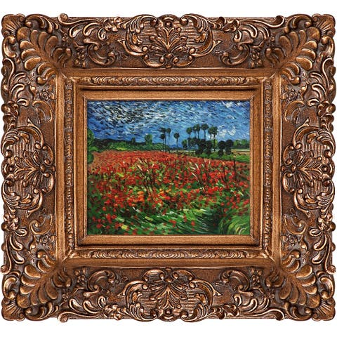 "La Pastiche by overstockArt Field of Poppies by Vincent Van Gogh with Gold Burgeon Frame Oil Painting Wall Art, 19.5"" x 17.5"""