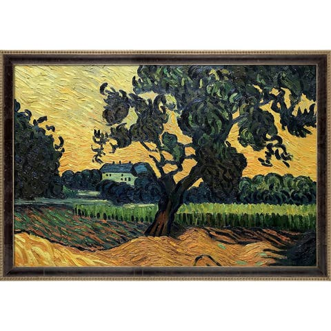 """La Pastiche Landscape the Chateau of Auvers at Sunset by Van Gogh Cabernet and Champagne Athenaeum Framed Art, 39.5"""" x 27.5"""""""