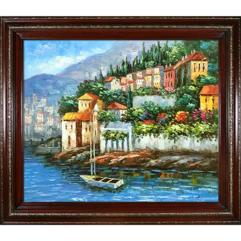 """La Pastiche by overstockArt Italy at Dusk with Cherry and Gold Heritage Wood Frame Oil Painting Wall Art, 30"""" x 26"""""""