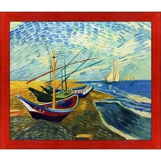 """La Pastiche Fishing Boats on the Beach at Saintes-Maries by Vincent Van Gogh Black, Red Stiletto Framed Art, 27.5"""" x 23.5"""""""