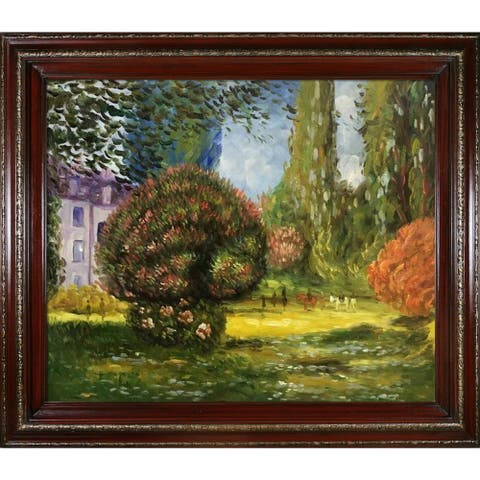 """La Pastiche Il Parco Monceau, 1876 by Claude Monet with Cherry and Gold Heritage Wood Frame Oil Painting Wall Art, 30"""" x 26"""""""