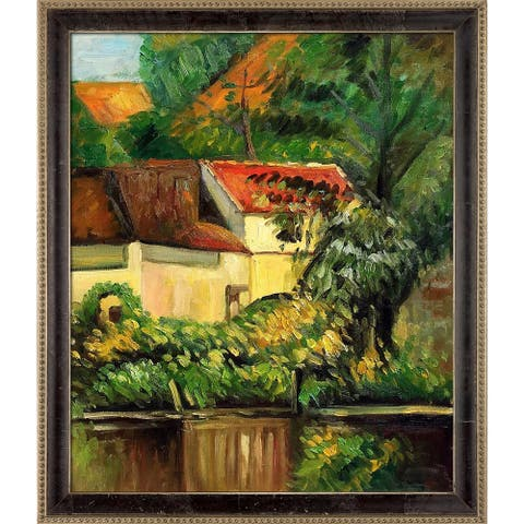 "La Pastiche House of Piere La Croix by Paul Cezanne with Cabernet and Champagne Athenaeum Frame Oil Painting, 27.5"" x 23.5"""
