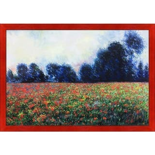 """La Pastiche Poppies at Giverny by Claude Monet with Black, Red Stiletto Brushed Frame Oil Painting Wall Art, 27.5"""" x 39.5"""""""