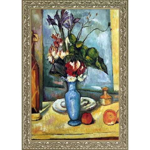 "La Pastiche Le Vase Bleu by Paul Cezanne with Silver and Gold Rococo Antiqued Frame Oil Painting Wall Art, 41.5"" x 29.5"""