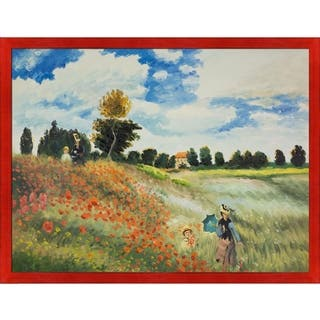 """La Pastiche Poppy Field in Argenteuil by Claude Monet with Black, Red Stiletto Brushed Frame Oil Painting, 43.5"""" x 33.5"""""""