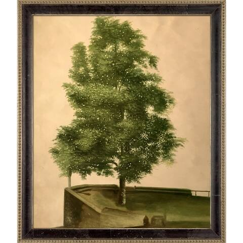 """La Pastiche Linden Tree on a Bastion by Albrecht Durer with Cabernet and Champagne Athenaeum Frame Oil Painting, 27.5"""" x 23.5"""""""