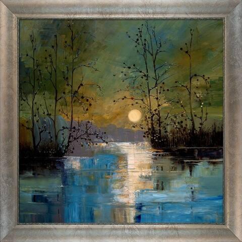 "ArtistBe River, w/ Glowing Moon by Justyna Kopania w/ Silver, Champagne Scoop w/ Swirl Lip Frame Canvas Wall Art, 29"" x 29"""