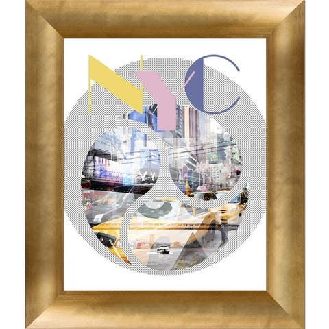 """ArtistBe by overstockArt New York City Geometric Mix No 1 by Melanie Viola with Gold Luminoso Frame Canvas Wall Art, 13"""" x 11"""""""