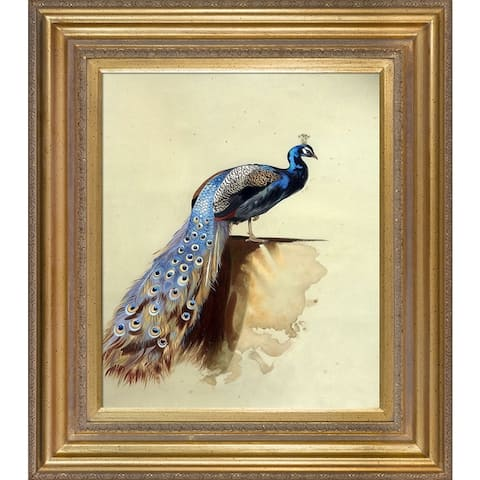 Copper Grove 'Peacock' Oil Painting Wall Art with Goldtone Frame - 34' x 30'