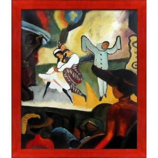 """La Pastiche Russian Ballet by August Macke with Black, Red Stiletto Brushed Frame Oil Painting Wall Art, 27.5"""" x 23.5"""""""
