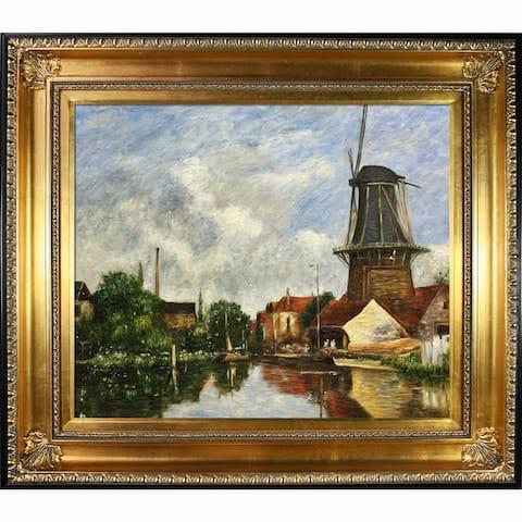 "La Pastiche River Scene w/ Windmill at Dordrecht, Holland by Eugene Boudin w/ Gold and Black Regency Framed Art, 32.5"" x 28.5"""