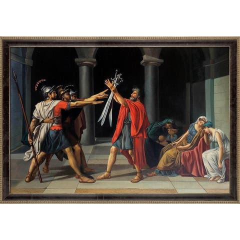 """La Pastiche Oath of the Horatii, 1784-1785 by Jacques-Louis David w/ Cabernet and Champagne Athenaeum Framed Art, 39.5"""" x 27.5"""""""