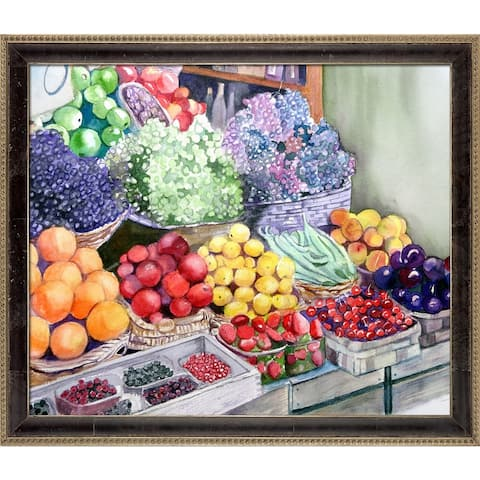"""ArtistBe Rome Market by Lynne Atwood with Cabernet and Champagne Antiqued Athenaeum Frame Canvas Wall Art, 27.5"""" x 23.5"""""""
