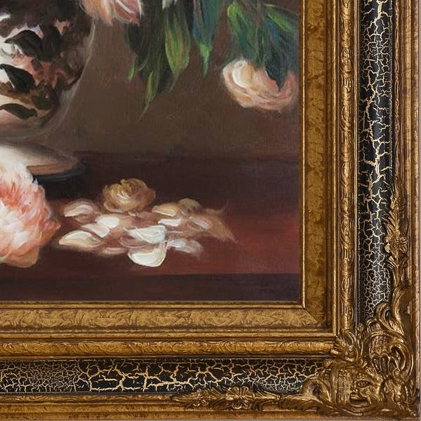 La Pastiche By Overstockart Peonies In A Vase By Edouard Manet With Black Crackle King Frame Oil Painting Wall Art 32 X 28 On Sale Overstock 28492318