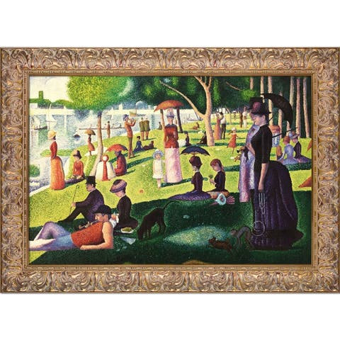 Gracewood Hollow 'Sunday Afternoon on the Island of Le Grande Jatte' Wall Art with Distressed Goldtone Frame