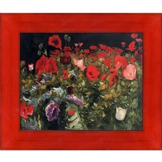 "La Pastiche Poppies, 1886 by John Singer Sargent with Black, Red Stiletto Brushed Frame Oil Painting Wall Art, 13.5"" x 11.5"""