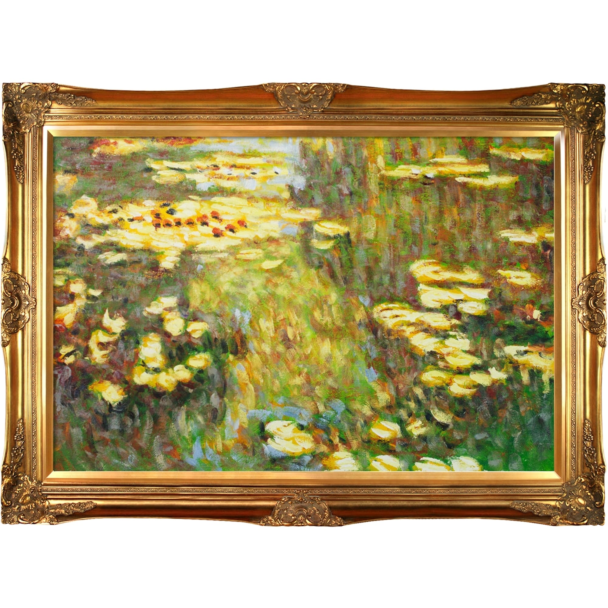 La Pastiche By Overstockart Water Lilies By Claude Monet With Gold Victorian Frame Oil Painting Wall Art 44 X 32 On Sale Overstock 28492401