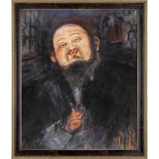 "La Pastiche Portrait of Diego Rivera 2 by Amedeo Modigliani w/ Cabernet and Champagne Athenaeum Framed Art, 27.5"" x 23.5"""