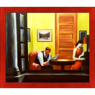 """La Pastiche Room in New York by Edward Hopper with Black, Red Stiletto Brushed Frame Oil Painting Wall Art, 27.5"""" x 23.5"""""""