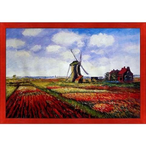 "La Pastiche Tulip Field w/ the Rijnsburg Windmill by Claude Monet w/ Black, Red Stiletto Brushed Framed Art, 27.5"" x 39.5"""
