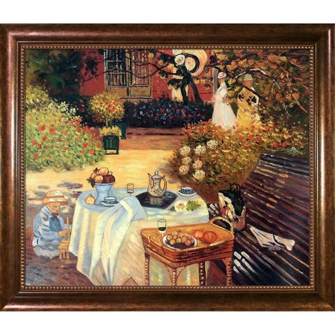 "La Pastiche by overstockArt The Luncheon by Claude Monet with Brown Verona Bead Frame Oil Painting Wall Art, 28"" x 24"""