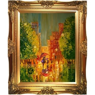 "ArtistBe by overstockArt Rain by Justyna Kopania with Gold Victorian Frame Canvas Wall Art, 28"" x 24"""