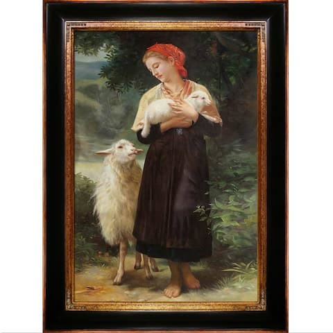 Copper Grove 'The Shepherdess' Oil Painting Wall Art with Goldtone Frame - 45 x 33