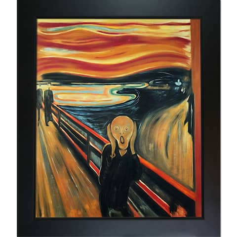 """La Pastiche by overstockArt The Scream by Edvard Munch with Black New Age Wood Frame Oil Painting Wall Art, 28.75"""" x 24.75"""""""