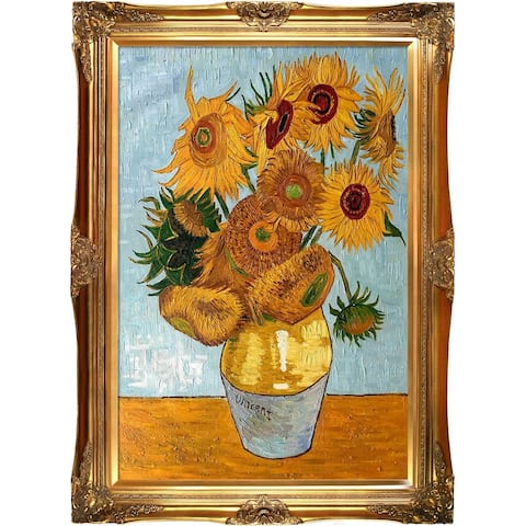 """La Pastiche by overstockArt Sunflowers by Vincent Van Gogh with Gold Victorian Frame Oil Painting Wall Art, 44"""" x 32"""""""