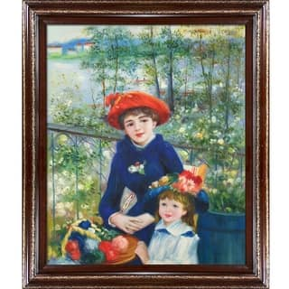 """La Pastiche Two Sisters (On the Terrace), 1881 by Pierre-Auguste Renoir w/ Cherry and Gold Heritage Wood Framed Art, 30"""" x 26"""""""