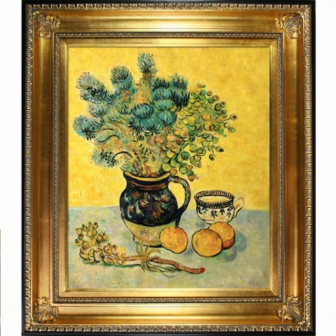 "La Pastiche Still Life Majolica Jug w/ Wildflowers by Vincent Van Gogh w/ Gold and Black Regency Framed Art, 32.5"" x 28.5"""