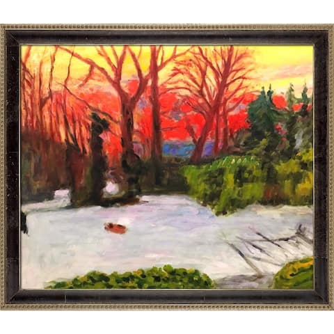 """La Pastiche The Garden in the Snow, Sunset by Pierre Bonnard w/ Cabernet and Champagne Athenaeum Framed Art, 27.5"""" x 23.5"""""""