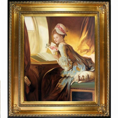 """La Pastiche The Love Letter, 1770 by Jean-Honore Fragonard with Gold and Black Regency Frame Oil Painting, 32.5"""" x 28.5"""""""