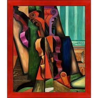"""La Pastiche Violon et guitare by Juan Gris with Black, Red Stiletto Brushed Frame Oil Painting Wall Art, 27.5"""" x 23.5"""""""