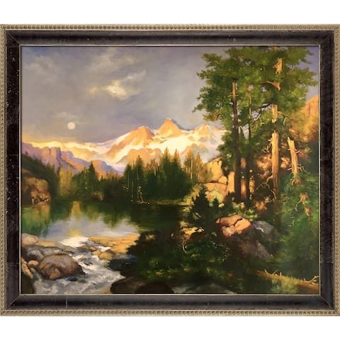 """La Pastiche The Three Tetons by Thomas Moran with Cabernet and Champagne Antiqued Athenaeum Frame Oil Painting, 27.5"""" x 23.5"""""""
