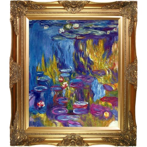 """La Pastiche by overstockArt Water Lilies, 1917 by Claude Monet with Gold Victorian Frame Oil Painting Wall Art, 32"""" x 28"""""""