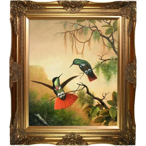 """La Pastiche Two Hooded Visorbearer Hummingbirds by Martin Johnson Heade with Gold Victorian Frame Oil Painting, 32"""" x 28"""""""