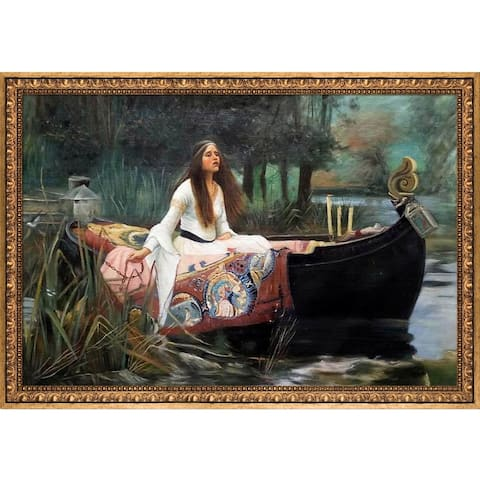 """La Pastiche The Lady of Shalott by John William Waterhouse with Gold Versailles Antiqued Frame Oil Painting, 39.5"""" x 27.5"""""""
