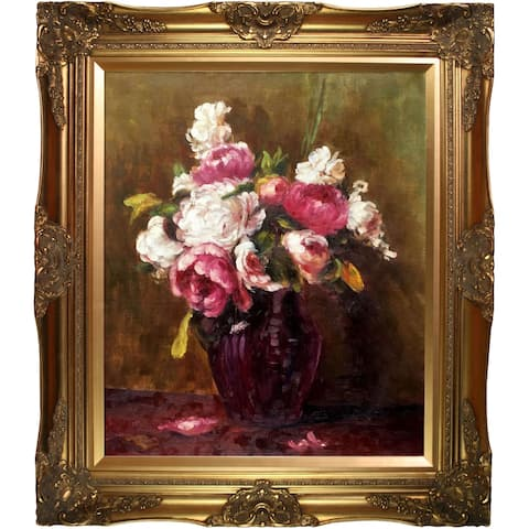 """La Pastiche White Peonies and Roses, Narcissus by Henri Fantin-Latour with Gold Victorian Frame Oil Painting, 32"""" x 28"""""""