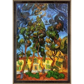 """La Pastiche Trees in the Garden of St. Paul Hospital by Van Gogh Cabernet and Champagne Athenaeum Framed Art, 39.5"""" x 27.5"""""""