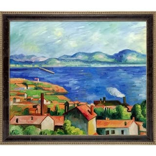 """La Pastiche The Gulf of Marseilles by Paul Cezanne with Cabernet and Champagne Athenaeum Frame Oil Painting, 27.5"""" x 23.5"""""""