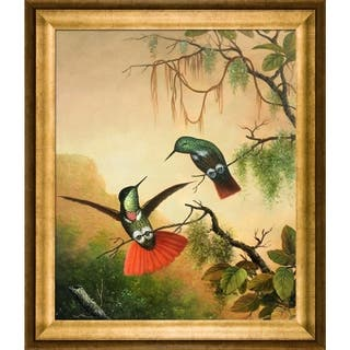"""La Pastiche Two Hooded Visorbearer Hummingbirds by Martin Johnson Heade with Gold Athenian Frame Oil Painting, 29"""" x 25"""""""