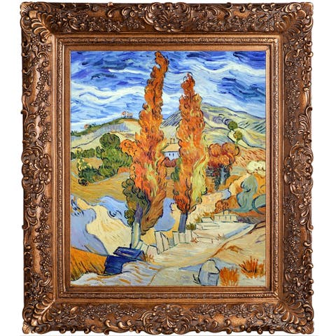 "La Pastiche Two Poplars on a Hill by Vincent Van Gogh with Gold Burgeon Frame Oil Painting Wall Art, 33.5"" x 29.5"""